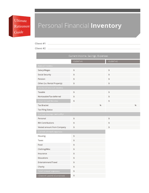 Printables Financial Inventory Worksheet ultimate retirement kit assured group download personal financial evaluation worksheet inventory